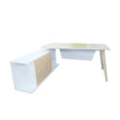 NORDIC TABLE DESK WITH SIDE STORAGE & FILE CREDENZA