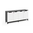 "BLACK & WHITE 63"" x 16"" HINGED-DOOR CREDENZA"