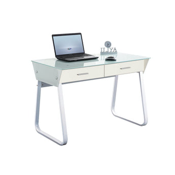 HOME OFFICE VANITY/DESK W/ WHITE GLASS TOP