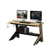 DELUXE GAMING DESK WITH LIGHT WOOD DETAILING