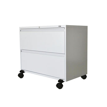 GLOBAL 2-DRAWER FIXED FRONT METAL LATERAL FILE ON WHEELS