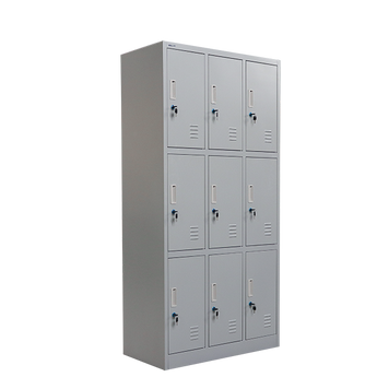 METALART TRIPLE TIER 9-COMPARTMENT STEEL OFFICE LOCKER 6' X 3'