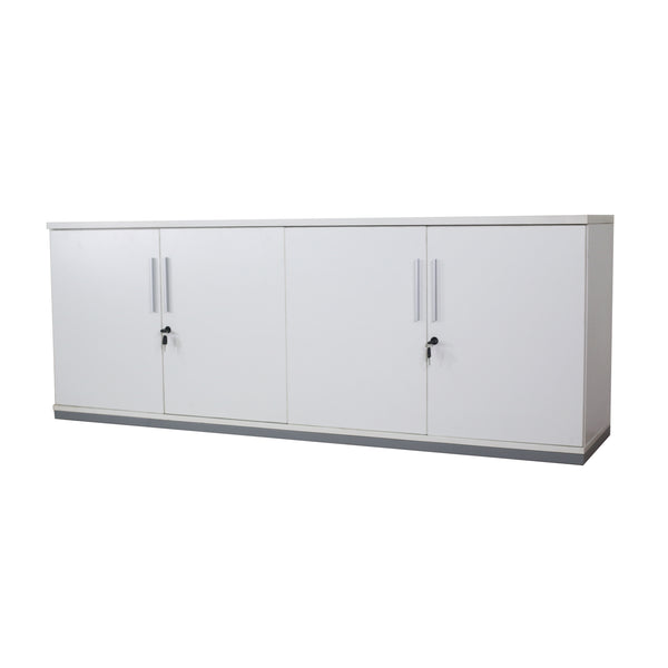 "HINGED-DOOR CREDENZA WHITE 71"" X 18"" WITH LOCKS"