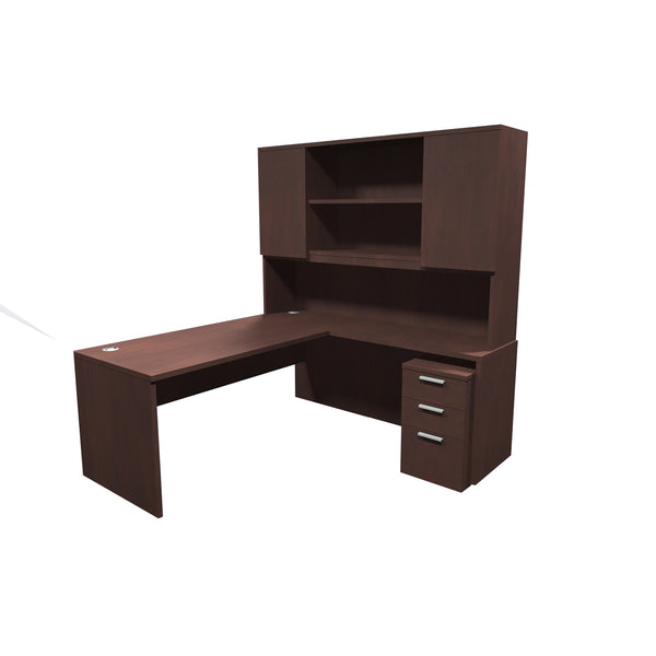 VERSA EXECUTIVE L-SHAPE DESK WITH HUTCH