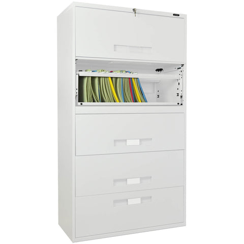 GLO-9336-5RIH-WHT - 5-DRAWER LATERAL FILE-GLOBAL-OFXoffice