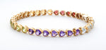 14k yellow gold Multi Color Heart tennis Bracelet - Isaac Westman - 1