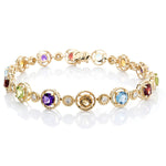 Diamond & Semi-Precious Gemstones Bracelet, 7.5""