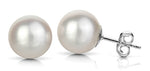 14k Gold white round Japanese Akoya Pearl stud earrings