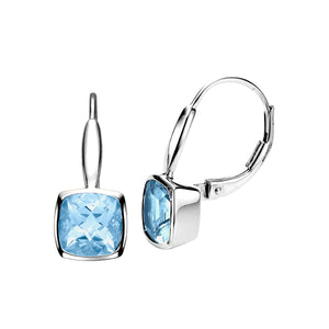 Bezel Set Blue Topaz Earrings - Isaac Westman - 2