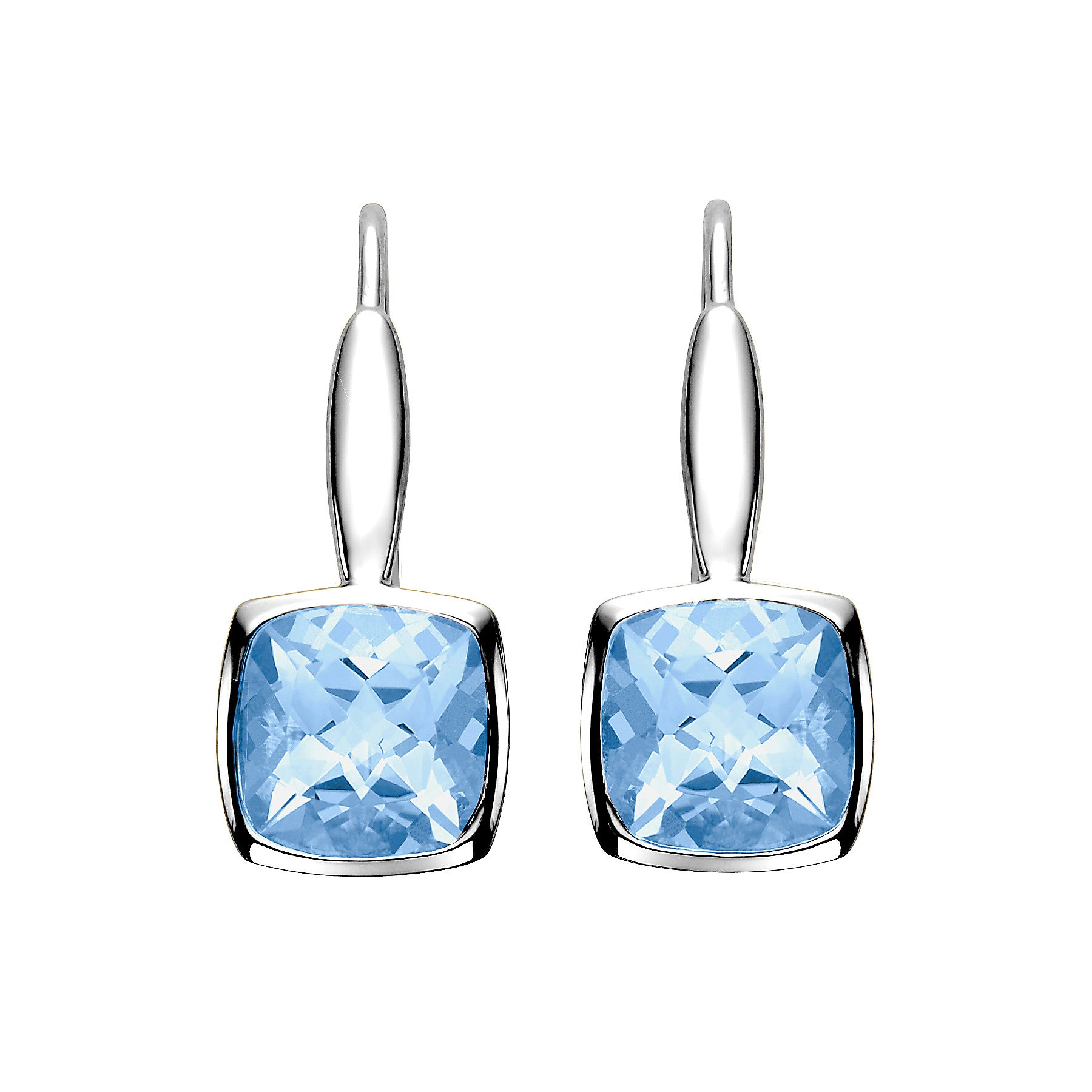 Bezel Set Blue Topaz Earrings - Isaac Westman - 1