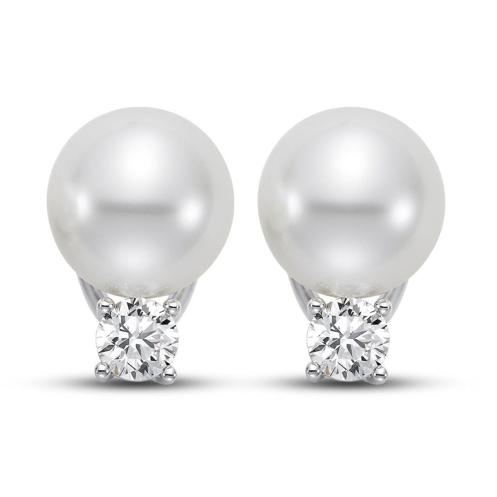 11mm White South Sea Cultured Pearl Earrings with 1.0 CTTW Diamonds - Isaac Westman - 1