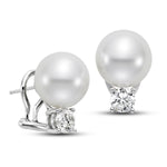 11mm White South Sea Cultured Pearl Earrings with 1.0 CTTW Diamonds - Isaac Westman - 2