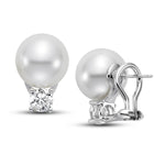 11mm White South Sea Cultured Pearl Earrings with 1.0 CTTW Diamonds - Isaac Westman - 3