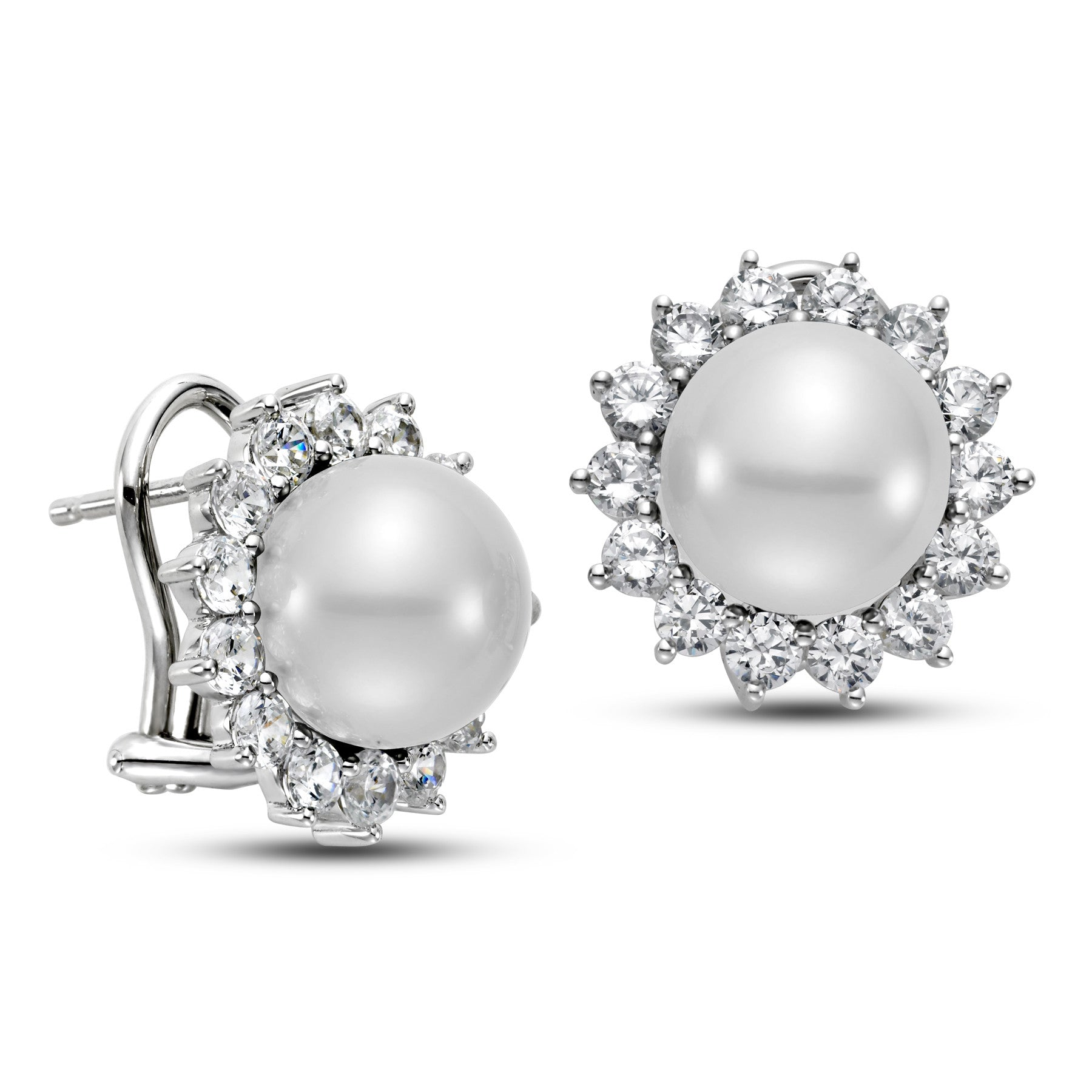 10 5 11 5mm White South Sea Pearl Earrings with 2 3 CTTW