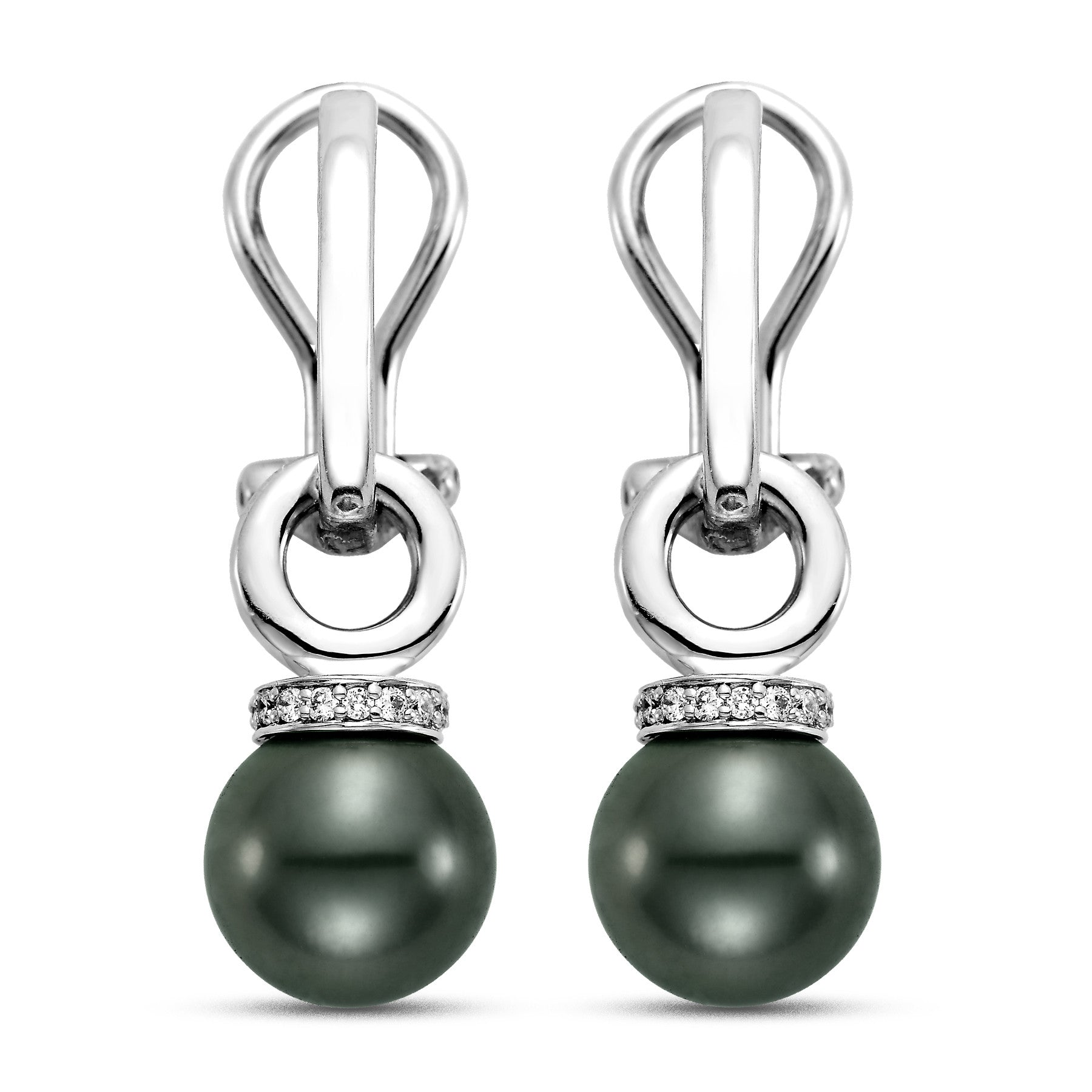 9 - 10mm Black Tahitian Pearl Earrings with 0.15 CTTW Diamonds - Isaac Westman - 1