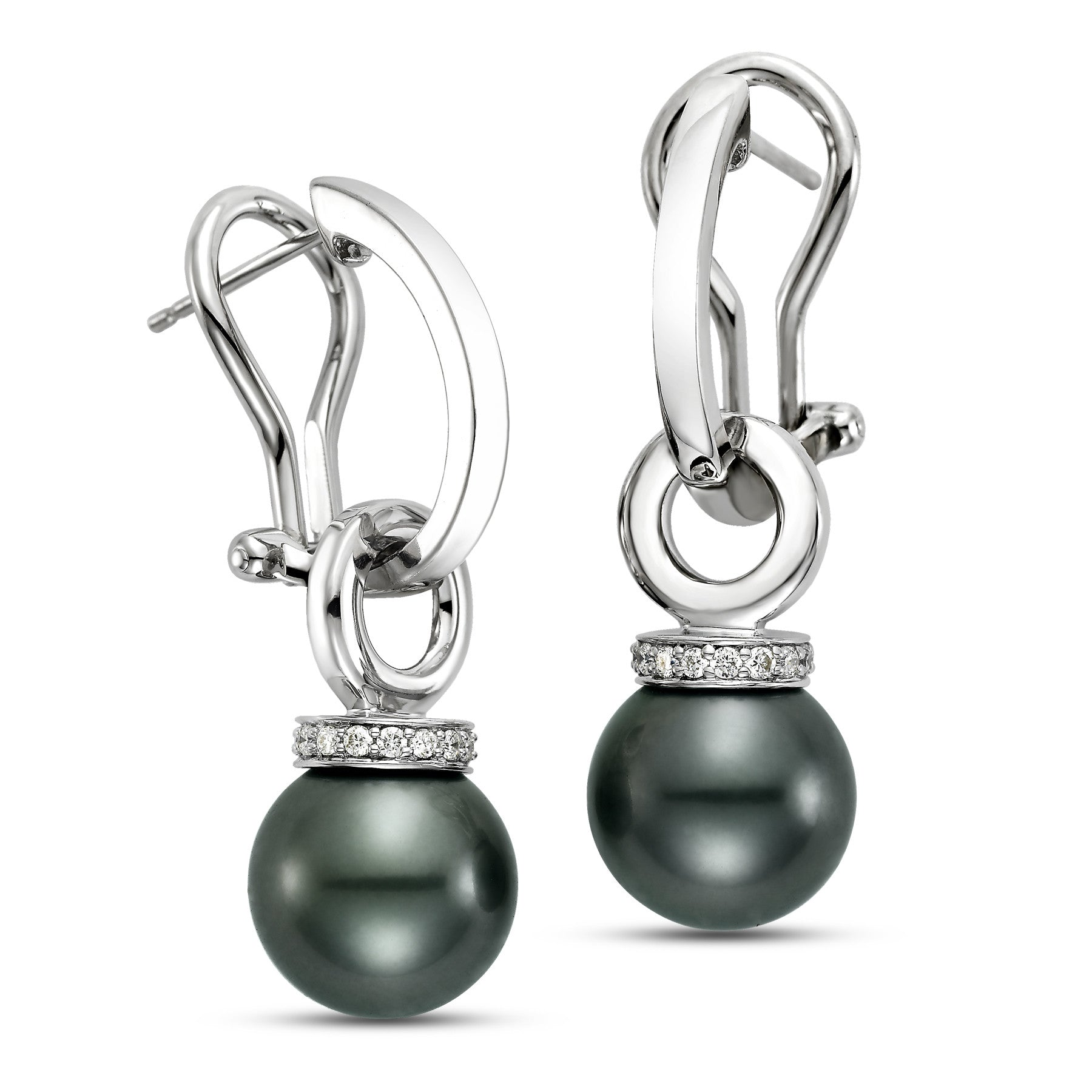 9 - 10mm Black Tahitian Pearl Earrings with 0.15 CTTW Diamonds - Isaac Westman - 2