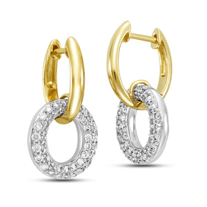14K Yellow & White Gold Pave Diamond Hoop Earrings - Isaac Westman - 2