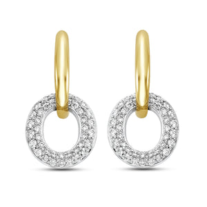 14K Yellow & White Gold Pave Diamond Hoop Earrings - Isaac Westman - 1