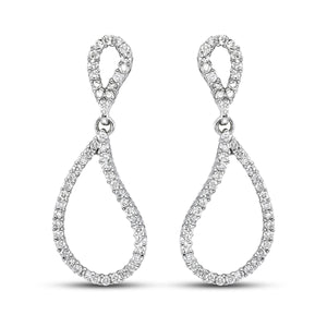 14K White Gold 0.60 CTTW Teardrop Diamond Earrings - Isaac Westman - 1