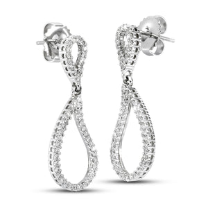 14K White Gold 0.60 CTTW Teardrop Diamond Earrings - Isaac Westman - 2