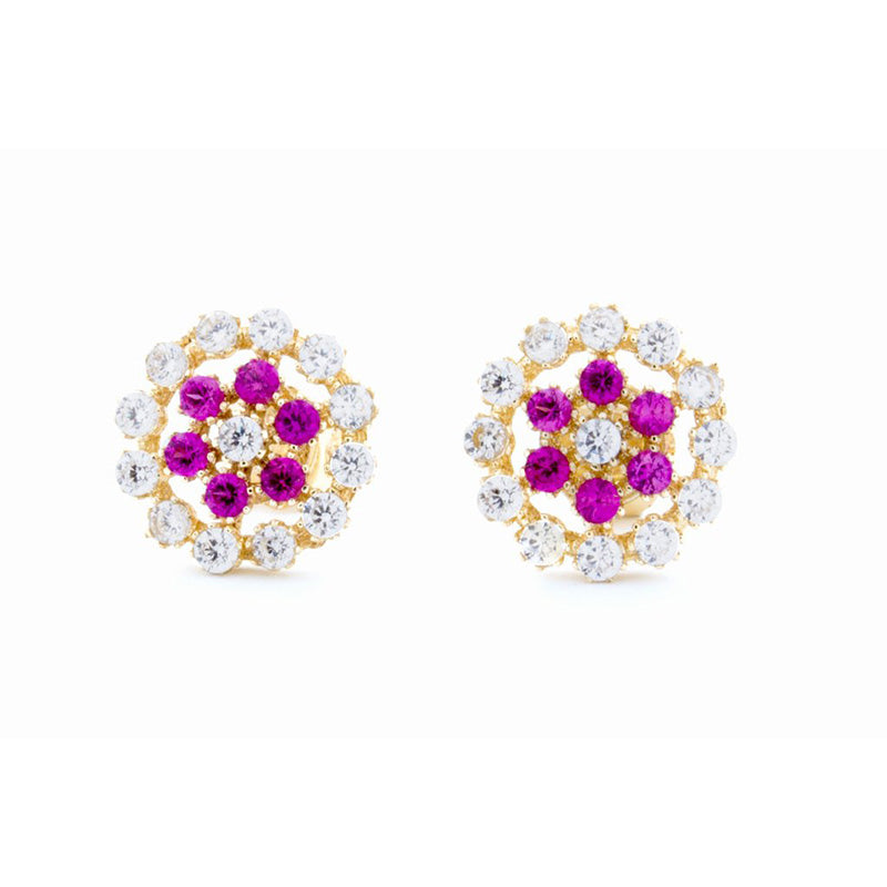 pink flower earrings with diamonds