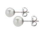White Freshwater Cultured Button Pearl Earrings
