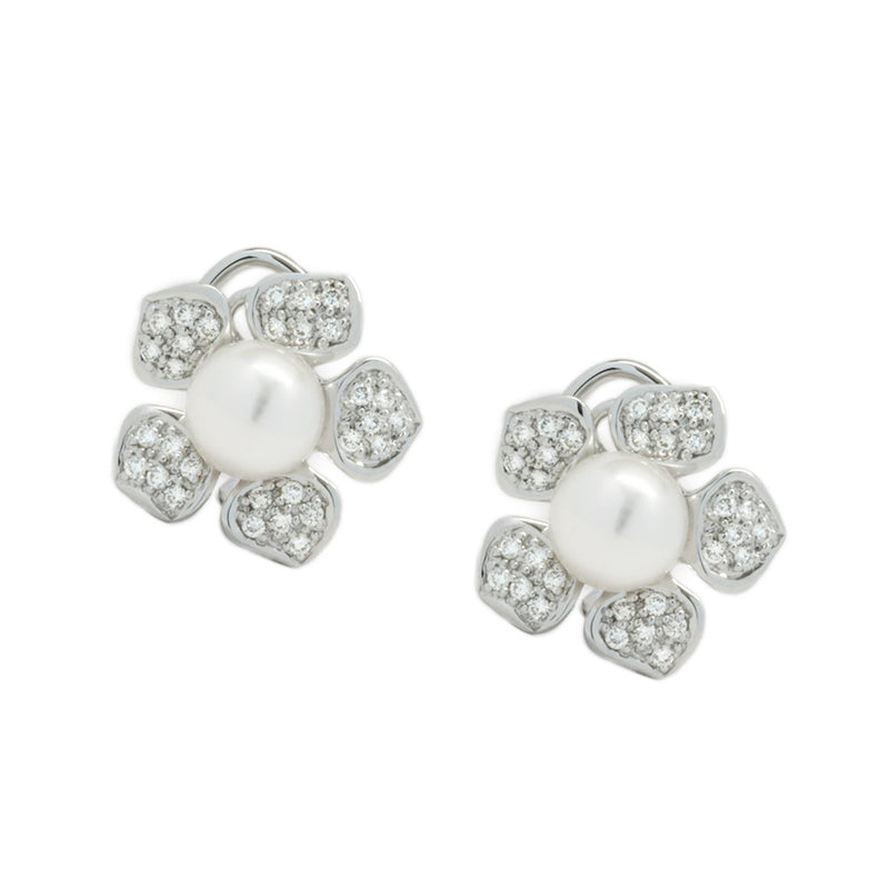 14K White Gold Diamond and Japanese Akoya Pearl Daisy Earrings