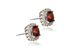 14K White Gold Garnet & Diamond Earrings - Isaac Westman - 2