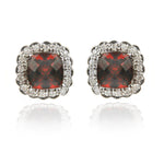 14K White Gold Garnet & Diamond Earrings