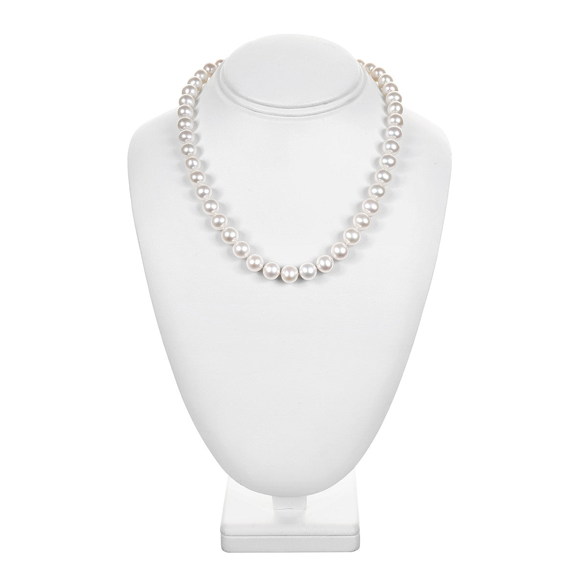 "8.5 - 9.5mm Cultured White Freshwater Pearl Necklace, 18"", AAA High Luster, 14K Yellow Gold - Isaac Westman - 1"