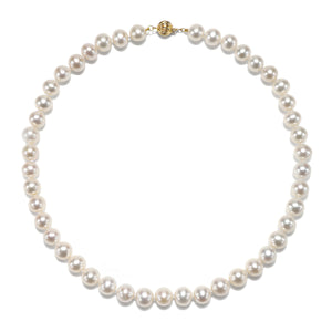 "8.5 - 9.5mm Cultured White Freshwater Pearl Necklace, 18"", AAA High Luster, 14K Yellow Gold - Isaac Westman - 2"