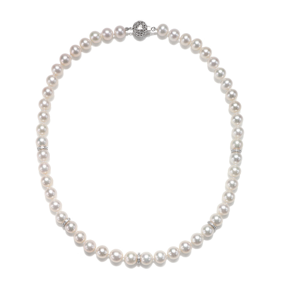 8.5 - 9.5mm Freshwater Cultured Pearl Necklace with 0.55 CTTW Round Brilliant Diamonds - Isaac Westman - 3