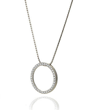 14K White Gold Circle Pave Diamond Pendant - Isaac Westman - 4