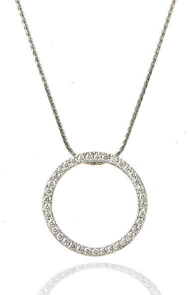 14K White Gold Circle Pave Diamond Pendant - Isaac Westman - 2