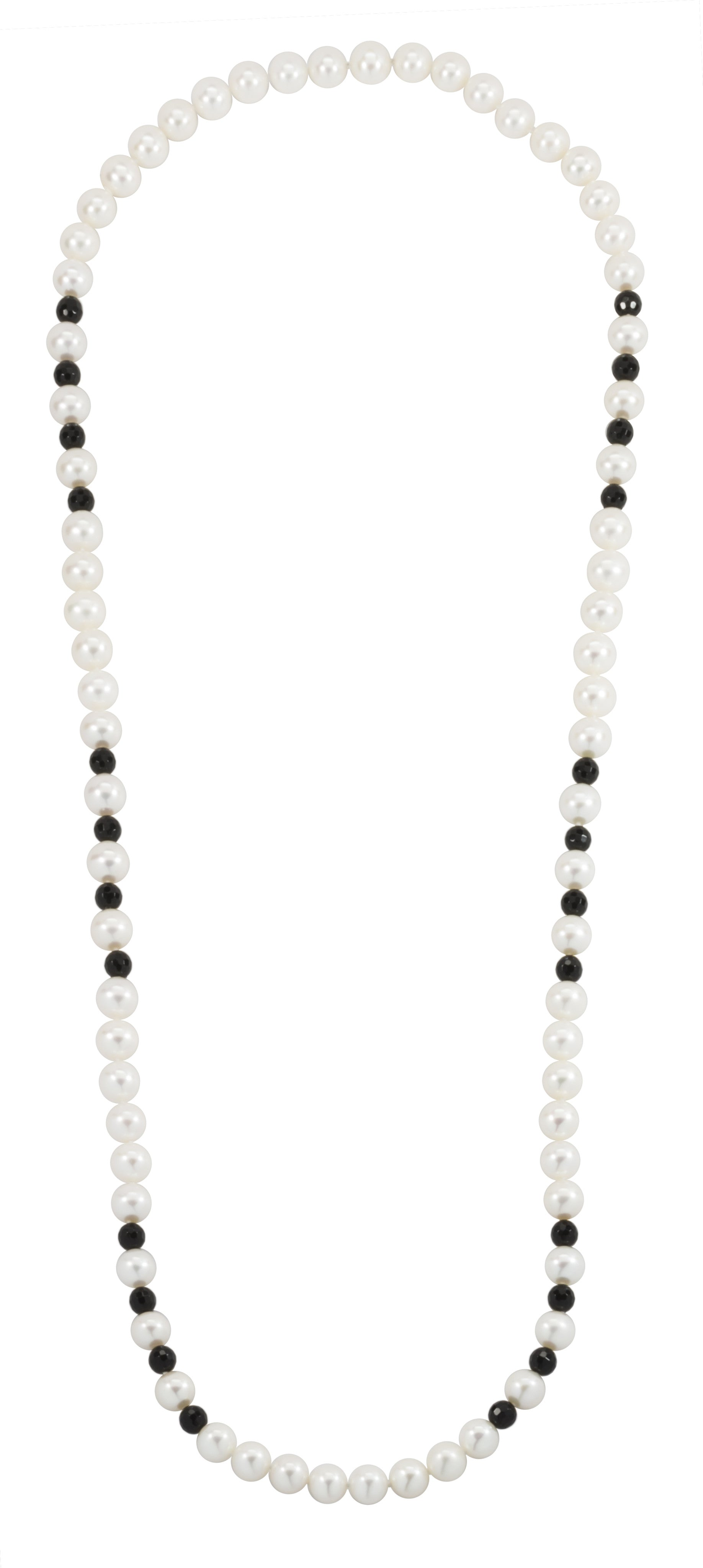 White Freshwater Pearl & Faceted Black Onyx Beads Endless Necklace