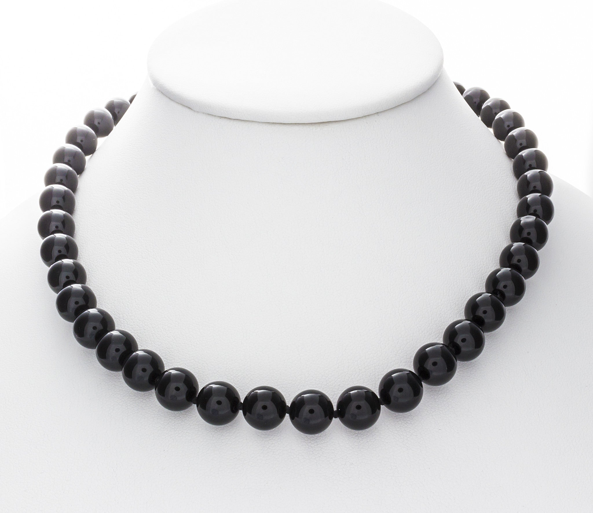 10mm Black Onyx Necklace with 925 Sterling Silver Clasp - Isaac Westman - 2