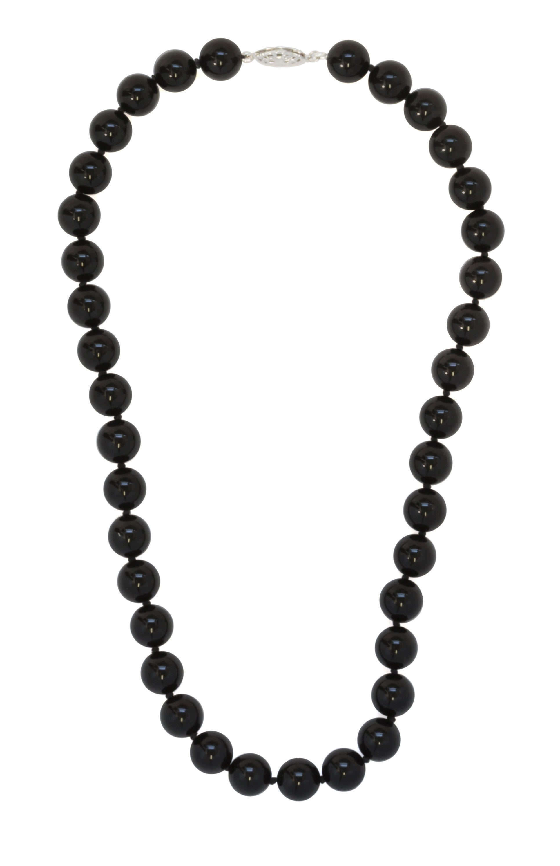 black onyx beaded necklace 10mm sterling silver