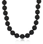 black onyx beaded necklace 10mm sterling silver for women