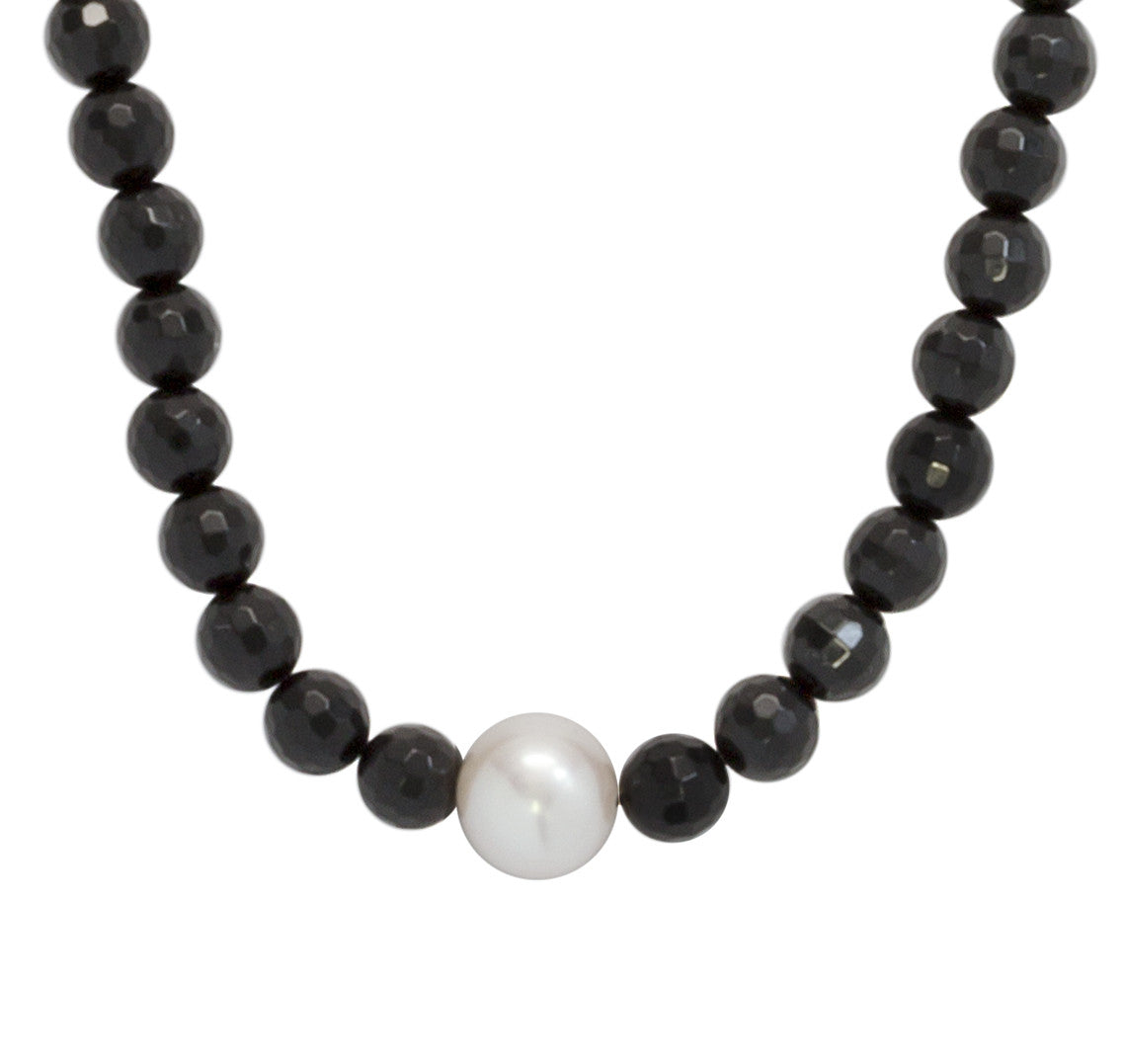 Freshwater Pearl & Faceted Black Onyx Choker Necklace