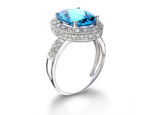 Blue Topaz Diamond Ring - Isaac Westman - 2