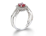 14K White Gold Pink Sapphire and Diamond Ring - Isaac Westman - 2