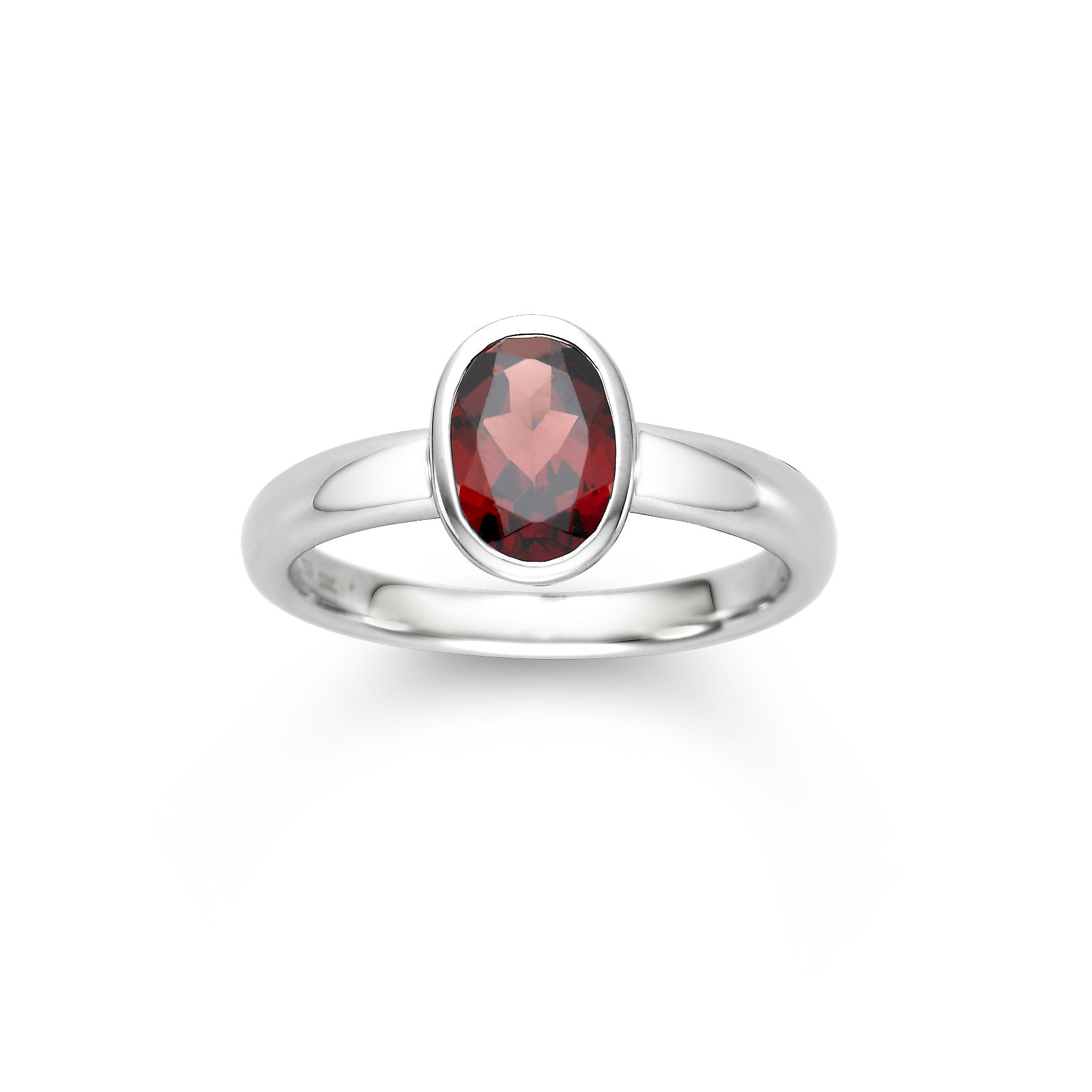 14K White Gold Bezel Set Garnet Ring - Isaac Westman - 1