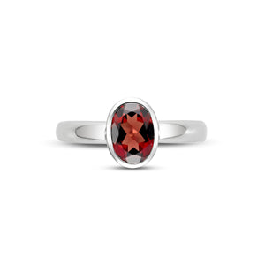 14K White Gold Bezel Set Garnet Ring - Isaac Westman - 2