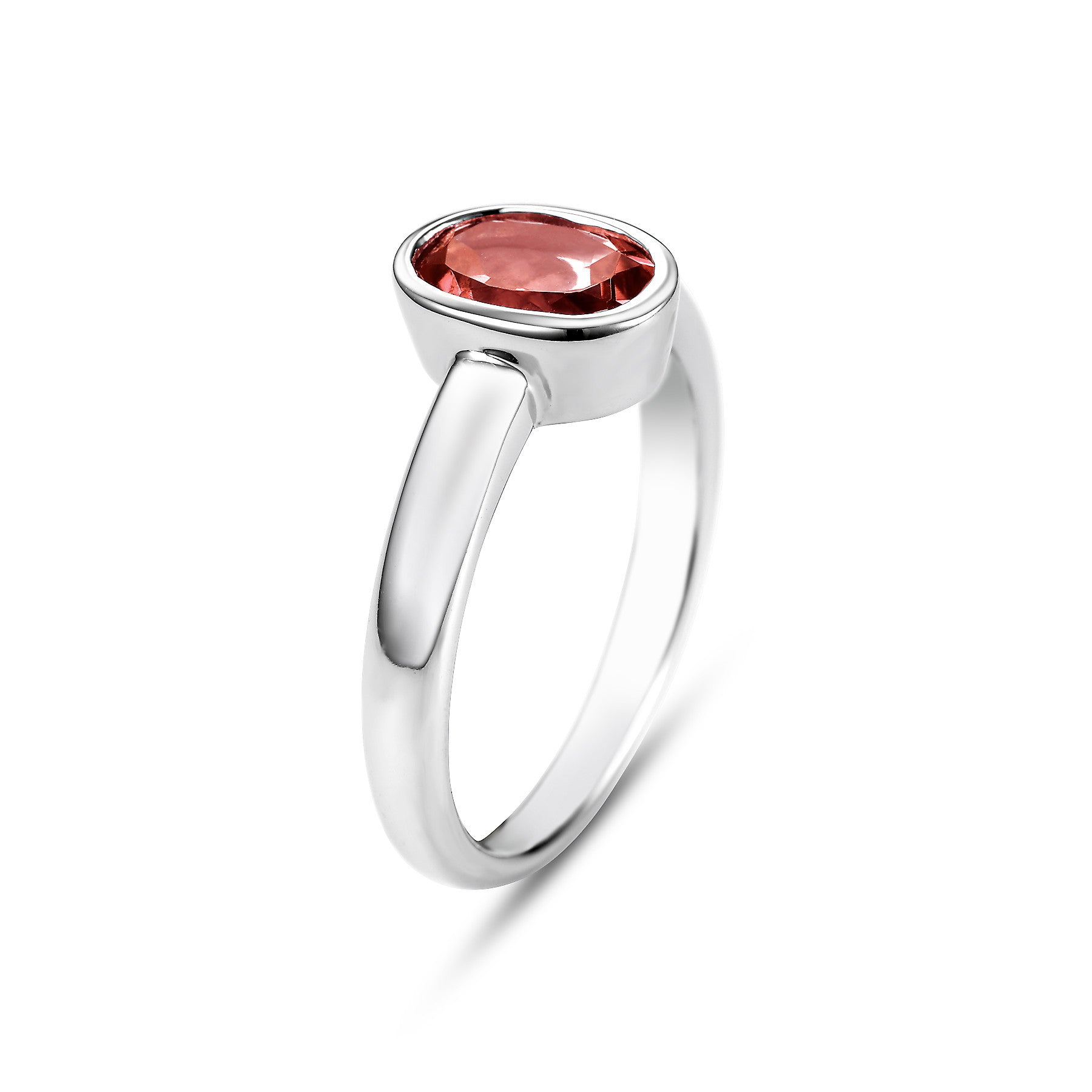 14K White Gold Bezel Set Garnet Ring - Isaac Westman - 3