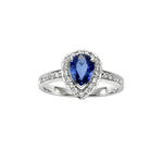 Pear Shaped Blue Sapphire and Diamond Ring - Isaac Westman - 1