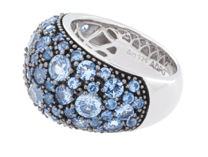 Rhodium Plated 925 Sterling Silver Fashion Ring With Blue Spinel Stones - Isaac Westman - 2