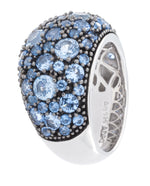 Rhodium Plated 925 Sterling Silver Fashion Ring With Blue Spinel Stones - Isaac Westman - 3