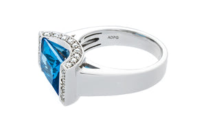 Diamond & Blue Topaz Gold Ring - Isaac Westman - 2