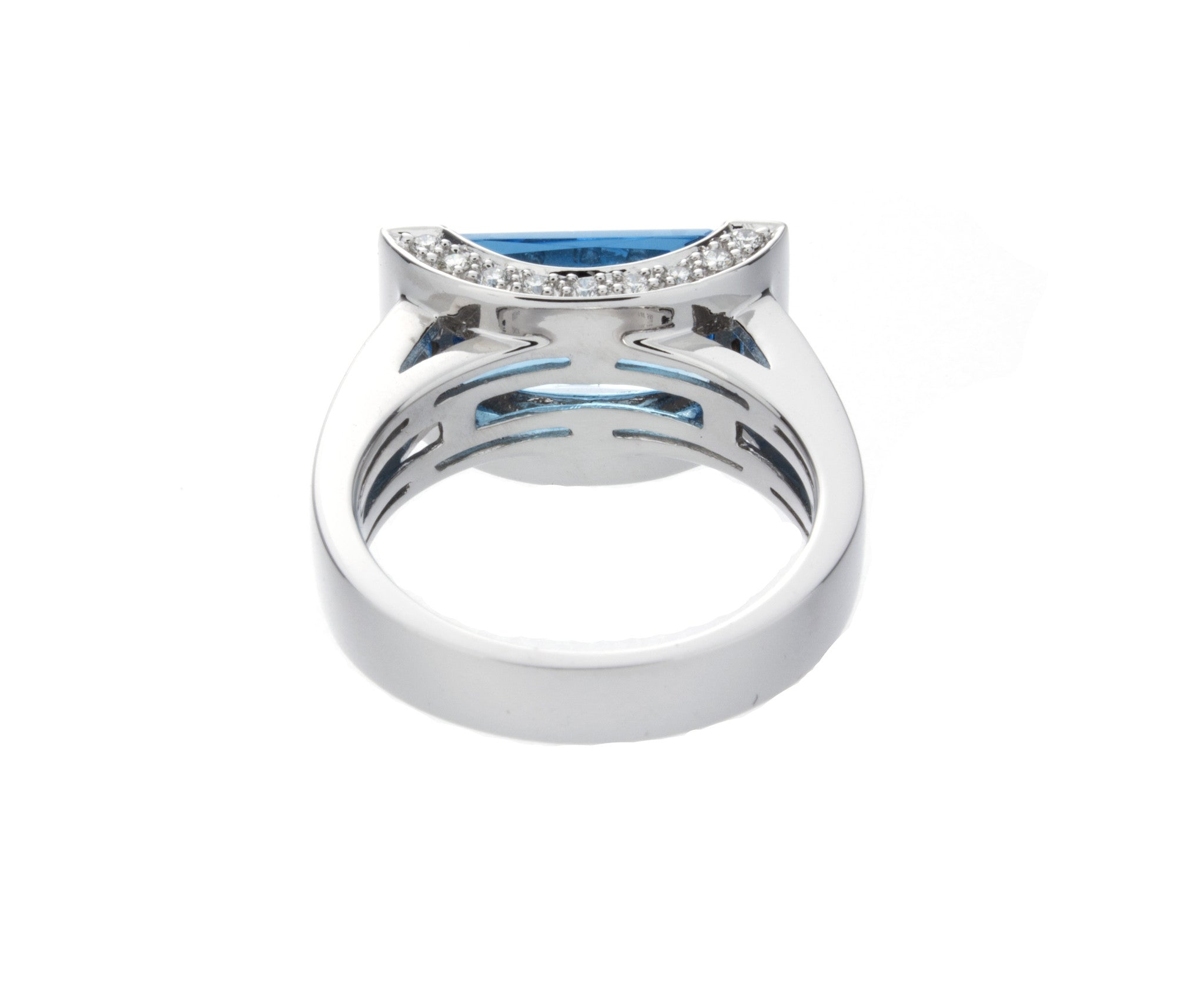 Diamond & Blue Topaz Gold Ring - Isaac Westman - 3
