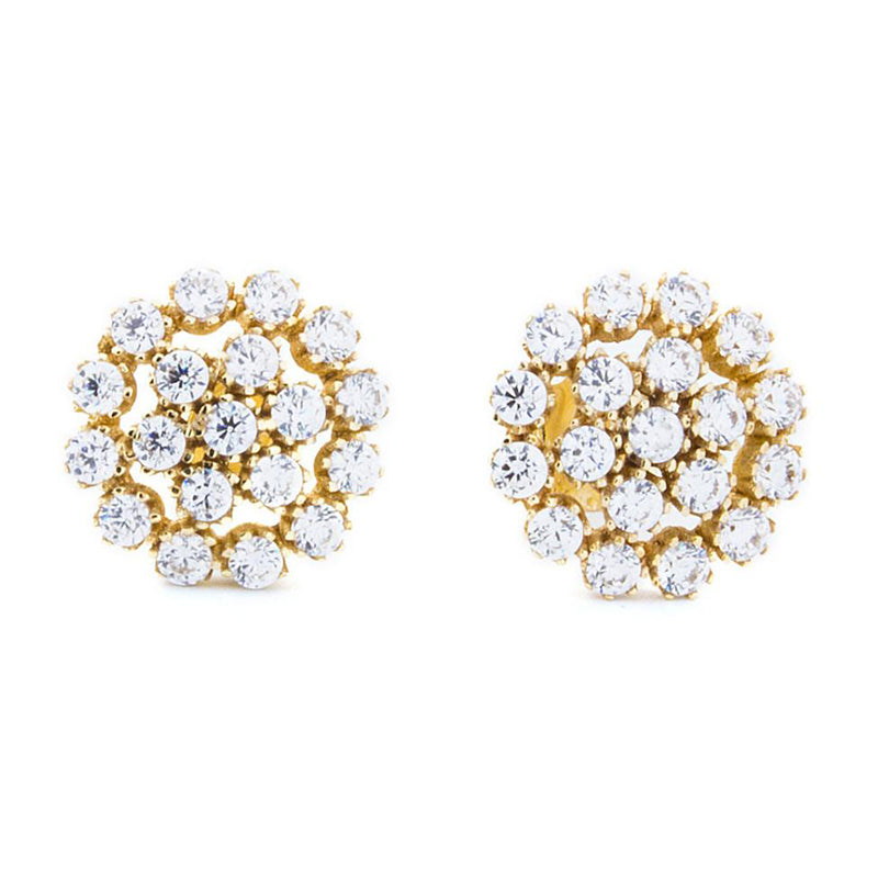 14K Gold Flower Stud Earrings